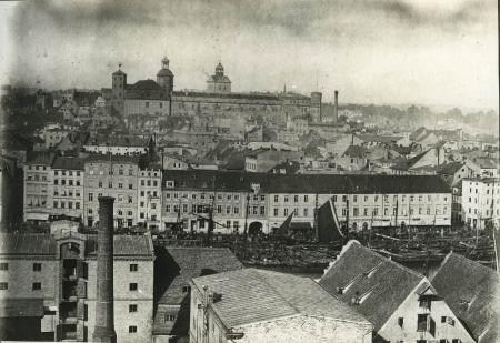 3cz. paroramy miastz z zamkiem, przed 1870 (MNS/A.Foto/15460; Szczecin)