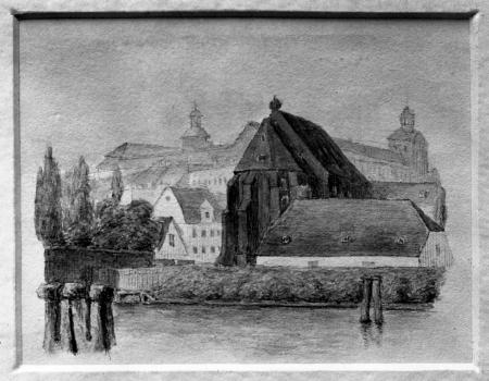 Kościół św. Katarzyny od wsch., artysta nn, 1845, akwarela, 7,5x9,5 (MNS/A.Foto/5252 B; Szczecin)