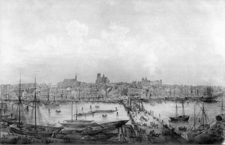 Panorama Sz-na zza Mostu Dł; lit. G.Frank, 1860 (MNS/A.Foto/5101; Szczecin)
