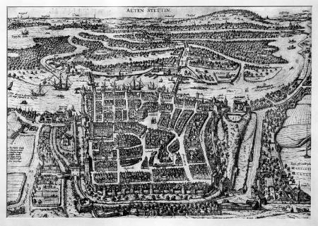 Szczecin ok. 1590 r. od zach. Braun/Hogenberg (MNS/A.Foto/5085; Szczecin)