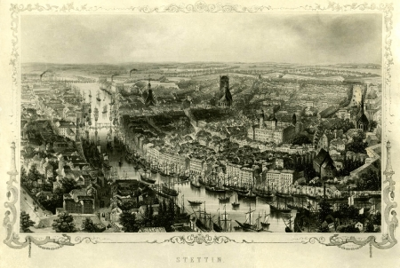 Widok miasta od NO; staloryt A.Eltzner, rys. French, 1850 (MNS/A.Foto/5093; Szczecin)